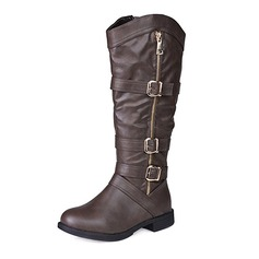 Women's Leatherette Flat Heel Boots Mid-Calf Boots With Buckle Zipper shoes