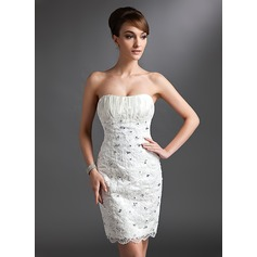 Sheath/Column Sweetheart Knee-Length Lace Wedding Dress With Ruffle Beading