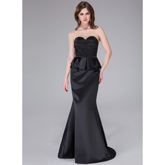 Trumpet/Mermaid Sweetheart Sweep Train Satin Evening Dress With Beading Sequins Cascading Ruffles
