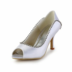 Satin Cone Heel Peep Toe Pumps Wedding Shoes With Rhinestone (047026395)