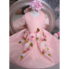 Ball Gown Knee-length Flower Girl Dress - Tulle/Lace Short Sleeves V-neck With Flower(s)/Bow(s)/Rhinestone