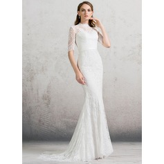 Trumpet/Mermaid High Neck Sweep Train Lace Wedding Dress