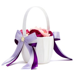 Elegant Flower Basket in Satin With Ribbon & Faux Pearl (102018101)