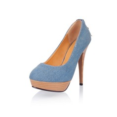 Canvas Stiletto Heel Closed Toe Platform Pumps With Zipper (085025203)