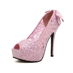 Lace Stiletto Heel Sandals Platform Peep Toe With Bowknot shoes
