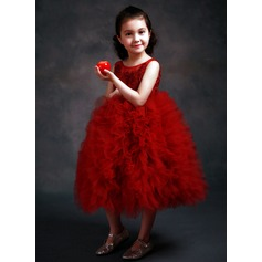Ball Gown Ankle-length Flower Girl Dress - Satin/Tulle Sleeveless Scoop Neck With Lace