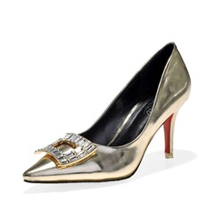 Patent Leather Stiletto Heel Pumps Closed Toe With Rhinestone shoes