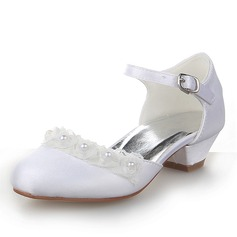 Satin Low Heel Closed Toe Pumps With Buckle Imitation Pearl (207095493)