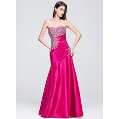 Trumpet/Mermaid Sweetheart Floor-Length Taffeta Prom Dress With Ruffle Beading