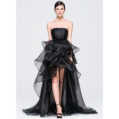 A-Line/Princess Strapless Asymmetrical Organza Evening Dress With Bow(s) Cascading Ruffles