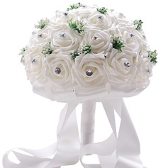 """Just budding"" Round Foam/Rhinestone Bridal Bouquets"