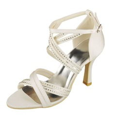 Women's Satin Spool Heel Peep Toe Pumps Sandals With Rhinestone