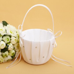 Beautiful Flower Basket in Satin With Rhinestones/Ribbons