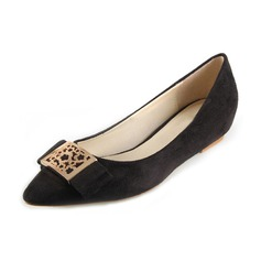 Suede Flat Heel Flats Closed Toe With Sequin shoes