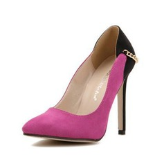 Suede Stiletto Heel Pumps Closed Toe With Chain shoes