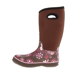Women's Rubber Flat Heel Flats Closed Toe Boots Mid-Calf Boots With Flower shoes