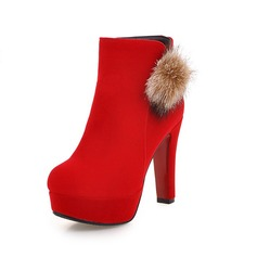 Women's Suede Chunky Heel Ankle Boots With Fur shoes