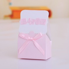 """Baby"" Cuboid Favor Boxes With Ribbons"