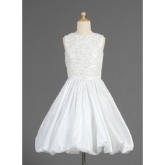 A-Line/Princess Tea-length Flower Girl Dress - Taffeta Sleeveless Scoop Neck With Embroidered/Ruffles/Beading/Sequins