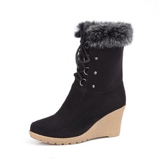 Women's Leatherette Wedge Heel Closed Toe Wedges Mid-Calf Boots shoes