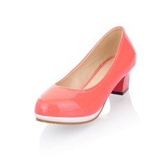 Patent Leather Chunky Heel Closed Toe Platform Pumps (085025192)