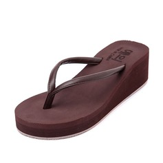 Women's Leatherette Wedge Heel Sandals Flip-Flops shoes