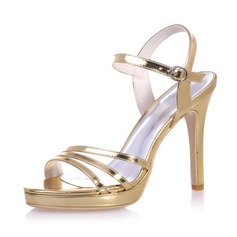 Women's Patent Leather Stiletto Heel Peep Toe Platform Sandals Slingbacks With Buckle