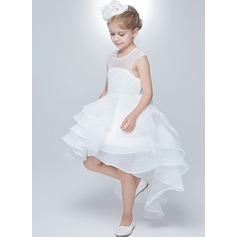 A-Line/Princess Knee-length Flower Girl Dress - Tulle/Lace Sleeveless Scoop Neck With Ruffles/Beading/Back Hole