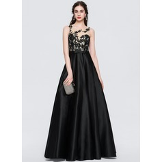 Ball-Gown Scoop Neck Floor-Length Satin Prom Dresses With Beading (018146363)