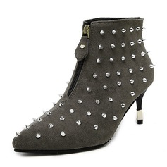 Women's Suede Stiletto Heel Boots Ankle Boots With Zipper shoes