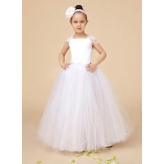 A-Line/Princess Tulle/Charmeuse/Lace First Communion Dresses With Ruffle (010073230)
