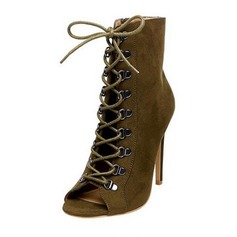 Women's Suede Stiletto Heel Sandals Boots Peep Toe With Lace-up shoes