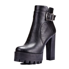 Women's Leatherette Chunky Heel Pumps Platform Closed Toe Boots Ankle Boots With Buckle shoes