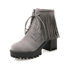 Women's Suede Chunky Heel Platform Ankle Boots With Hollow-out Braided Strap shoes