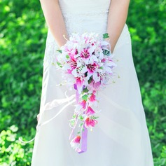 Girly Cascade Satin/Artificial Silk Bridal Bouquets