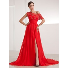 A-Line/Princess Off-the-Shoulder Chapel Train Chiffon Evening Dress With Ruffle Appliques Lace Split Front