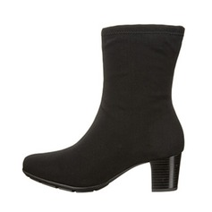 Women's Suede Chunky Heel Pumps Closed Toe Boots Mid-Calf Boots shoes