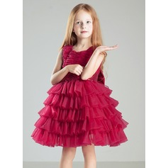 Ball Gown Knee-length Flower Girl Dress - Tulle/Cotton Sleeveless Scoop Neck With Sequins/Bow(s)