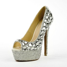 Patent Leather Stiletto Heel Peep Toe Platform Sandals With Rhinestone
