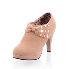 Suede Cone Heel Ankle Boots With Rhinestone shoes