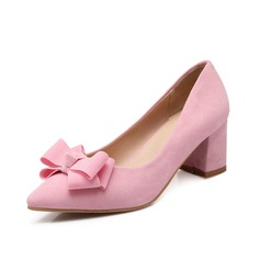 Suede Chunky Heel Pumps Closed Toe With Bowknot shoes
