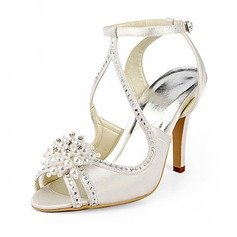 Women's Satin Stiletto Heel Sandals With Imitation Pearl