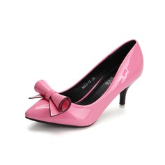 Leatherette Stiletto Heel Pumps Closed Toe With Bowknot shoes