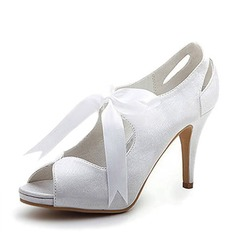 Women's Satin Cone Heel Peep Toe Platform Sandals With Ribbon Tie (047005035)