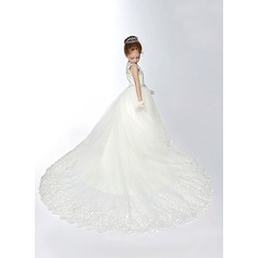 Ball Gown Chapel Train Flower Girl Dress - Lace/Dacron Sleeveless Scoop Neck With Beading/Flower(s)/Rhinestone