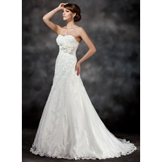 A-Line/Princess Sweetheart Court Train Tulle Wedding Dress With Appliques Lace Flower(s) Sequins