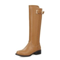 Women's Leatherette Flat Heel Mid-Calf Boots Martin Boots shoes