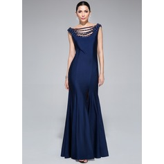 Trumpet/Mermaid Off-the-Shoulder Floor-Length Jersey Evening Dress With Beading Sequins Split Front