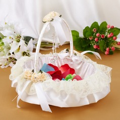 Elegant Flower Basket in Satin & Lace With Bow (102018053)