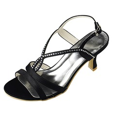 Women's Satin Spool Heel Pumps Sandals